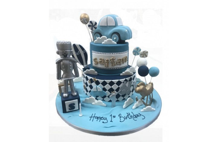 Car & Robot Tiered Cake