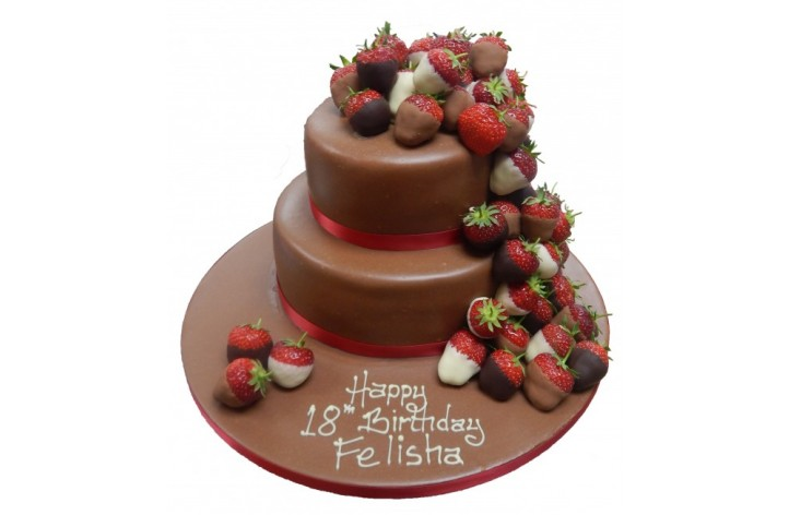 Chocolate Dipped Strawberry Tiered Cake