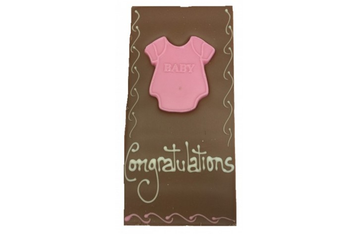 Large Chocolate Decorated Bar - Baby Items in Pink/Blue