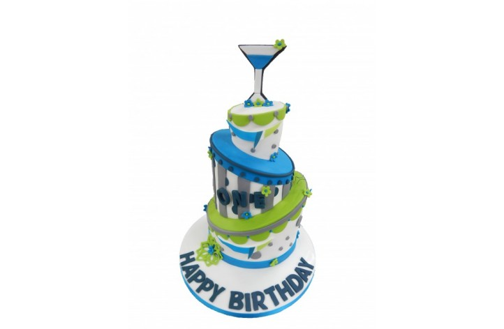 Tiered Topsy Turvy Cake with Glass