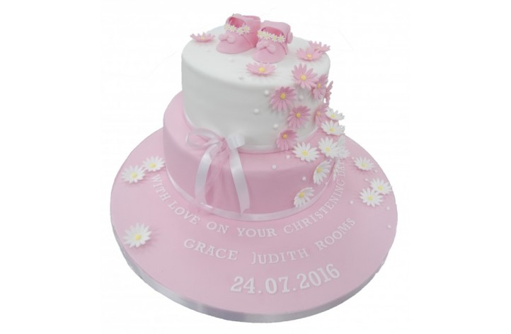 Daisies & Booties Tiered Christening Cake