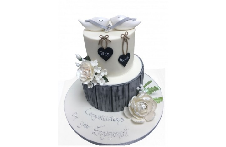 Doves & Ring Engagement Cake