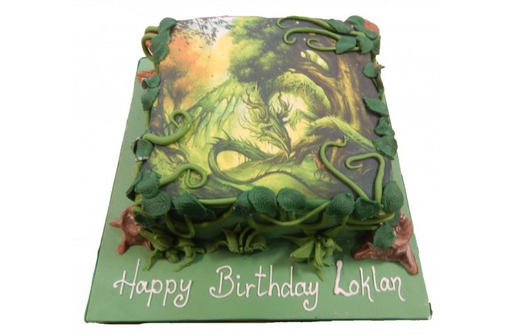 Dragon with Leaves Cake