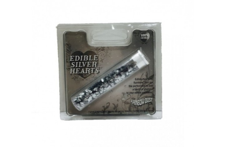Edible Silver Hearts