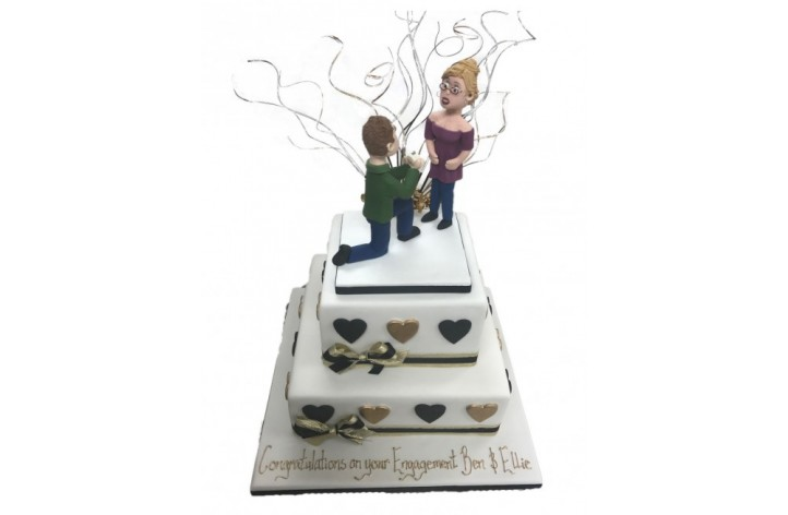 Tiered Engagement Proposal Cake