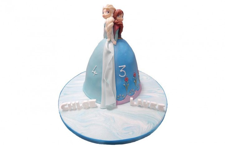 Frozen Elsa and Anna Barbie Style Cake