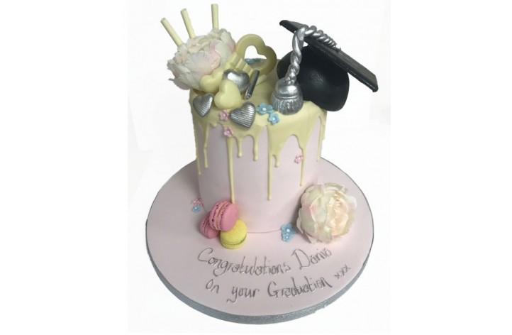 Graduation Chocolate Drip Drizzle Cake