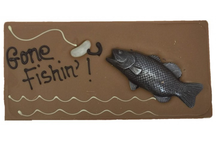Large Chocolate Decorated Bar - Gone Fishing