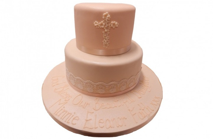 Lace Christening Tiered Cake