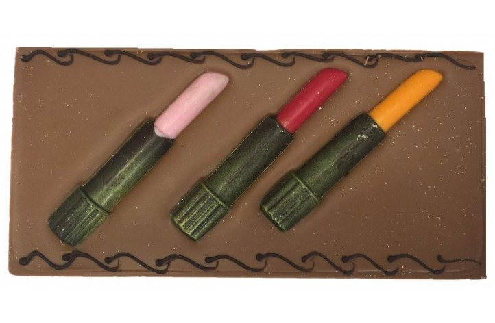 Large Chocolate Decorated Bar - Chocolate Lipsticks