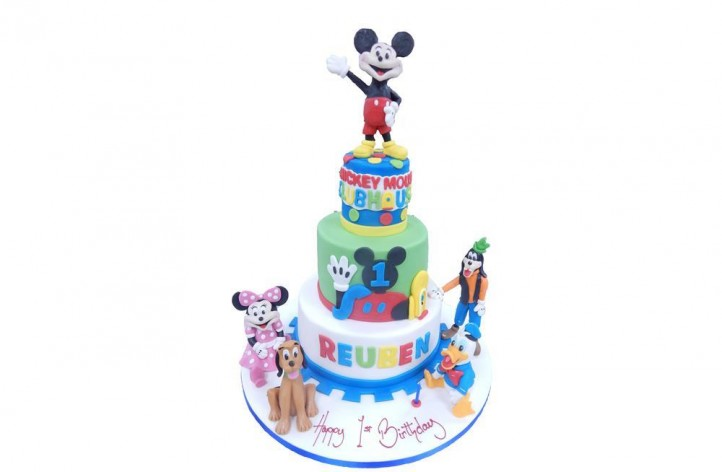 Mickey Club House Tiered Cake with Figures