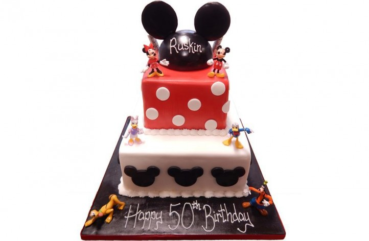 Mickey Mouse Tiered Cake - Own Figures