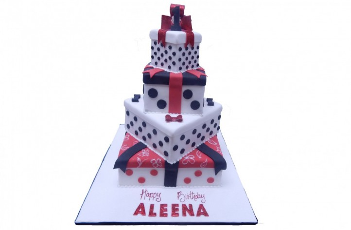 Mickey Themed Tiered Present Style Cake