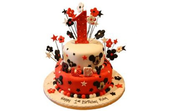 Mickey Tiered Cake with Stars and Flowers