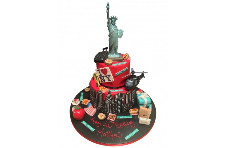 New York Items Tiered Cake