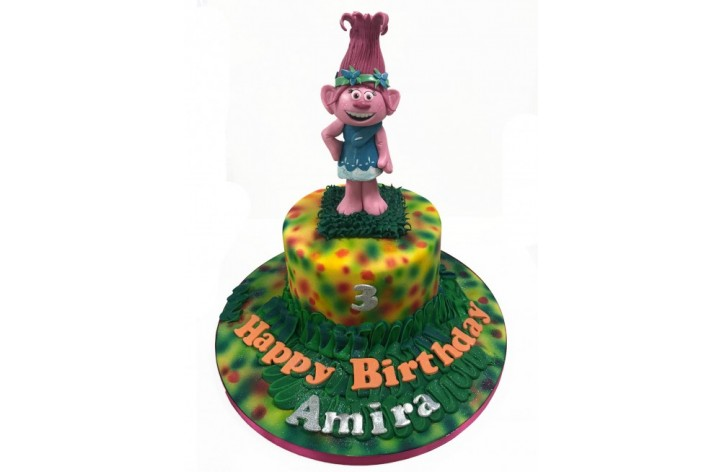 Poppy Troll Cake with Sugar Figure