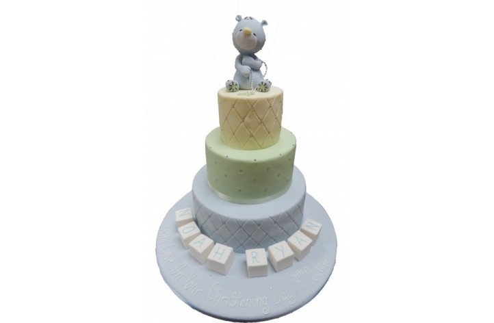 Quilted Tiered Christening Cake with Bear
