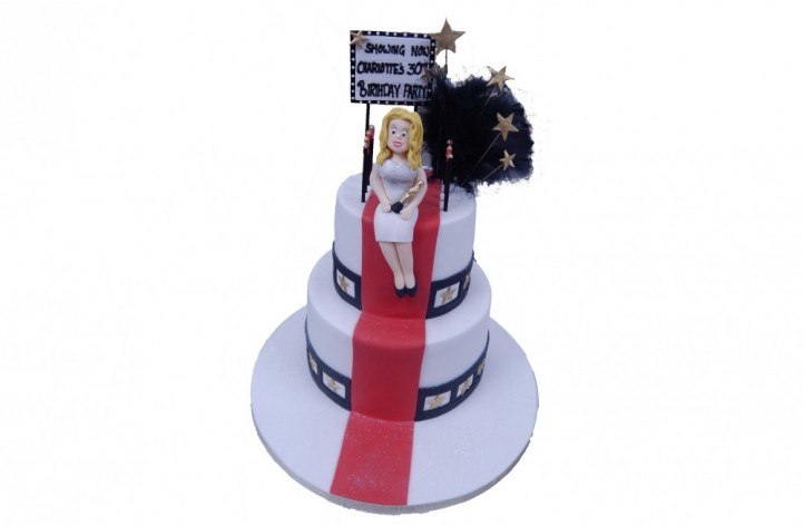 Red Carpet & Figure Tiered Cake
