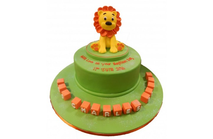 Sugar Lion & Blocks Cake