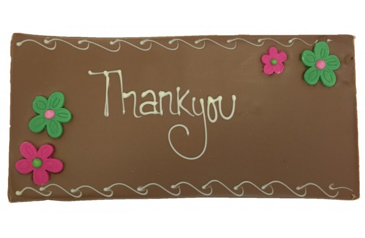 Large Chocolate - Thank you with Flowers
