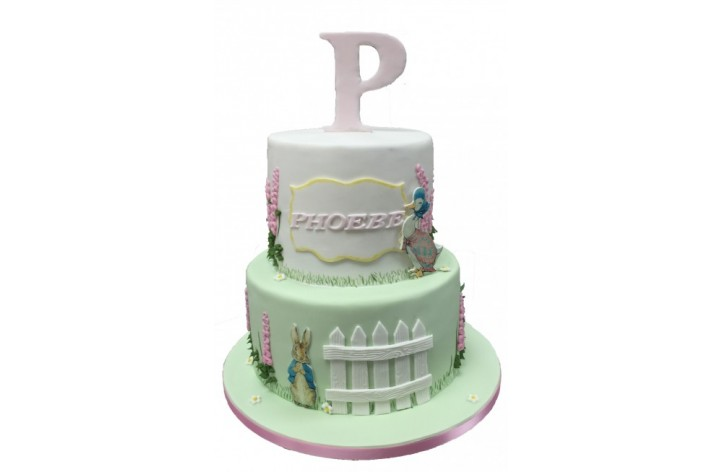 Tiered Beatrix Potter Cake with Letter