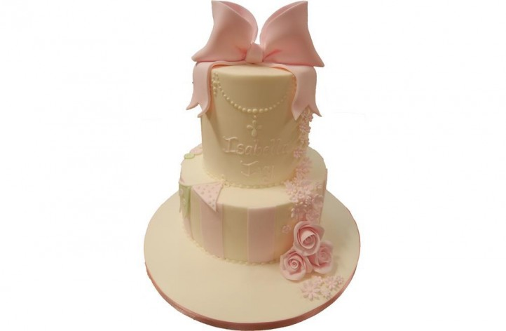 Tiered Bow, Bunting and Flowers Cake