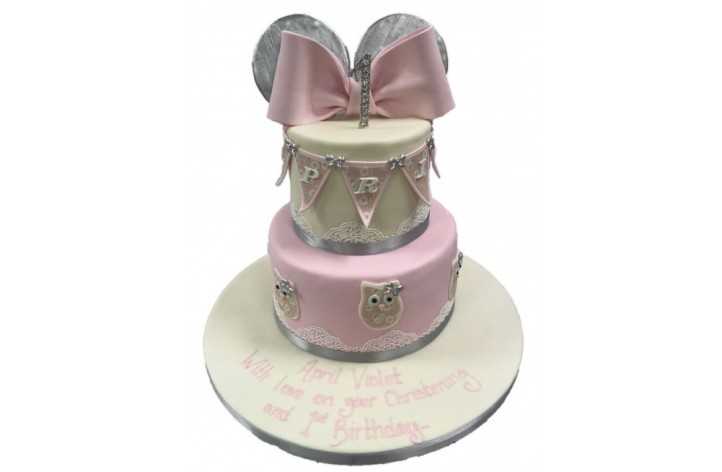Tiered Cake with Bow & Ears