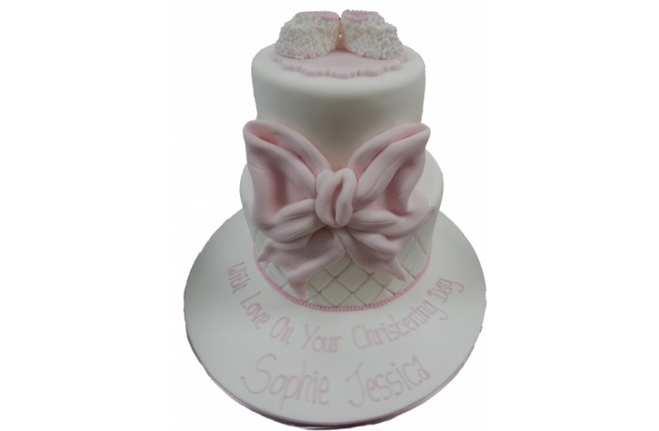 Tiered Christening Cake with Bow & Booties