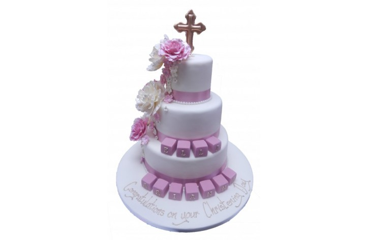 Tiered Christening Cake with Cascading Flowers, Cross & Blocks
