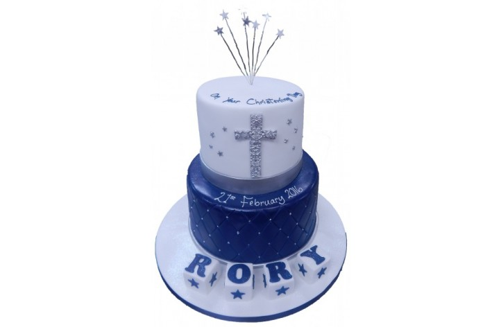 Tiered Christening Cake with Cross & Stars