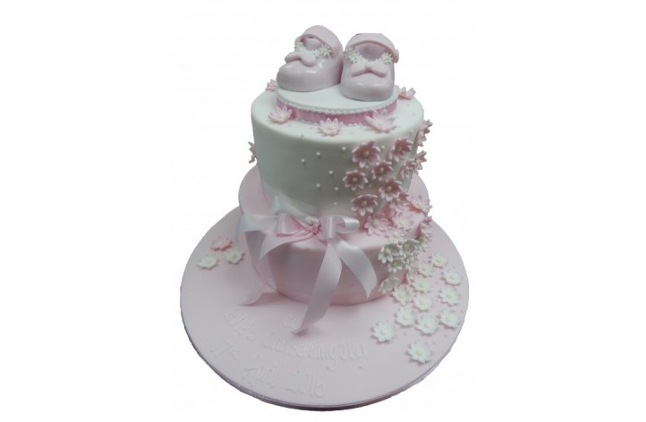 Tiered Christening Cake with Booties & Flowers