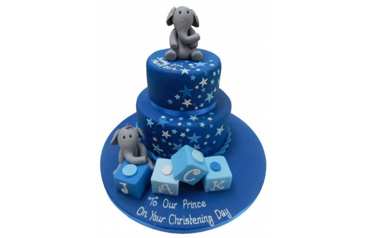 Tiered Elephant Christening Cake