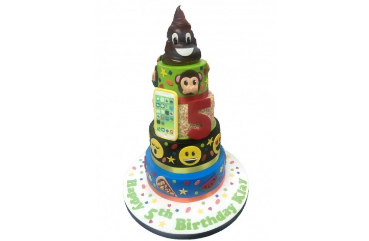 Large Tiered Emoji Cake