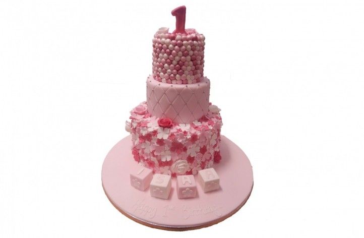 Tiered Cake with Flowers, Blocks & Number