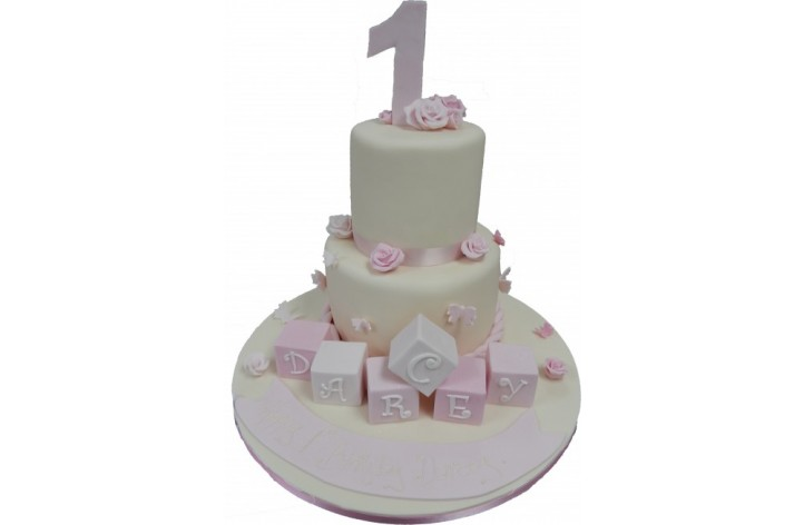 Tiered Number, Rose & Blocks Cake