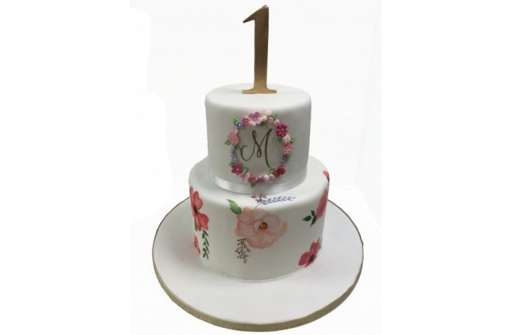 Tiered Painted Flowers Cake