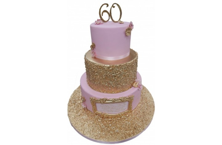 Tiered Sequin Cake with Plaque