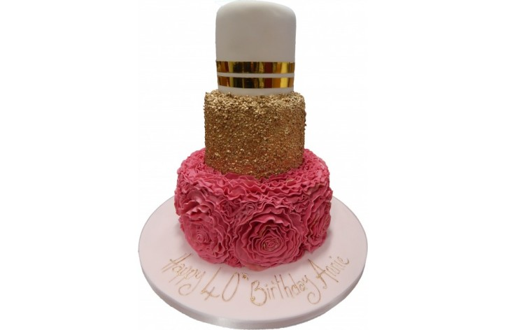 Tiered Sequin and Frill Cake