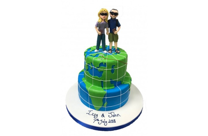 Tiered World Map Cake with Figures