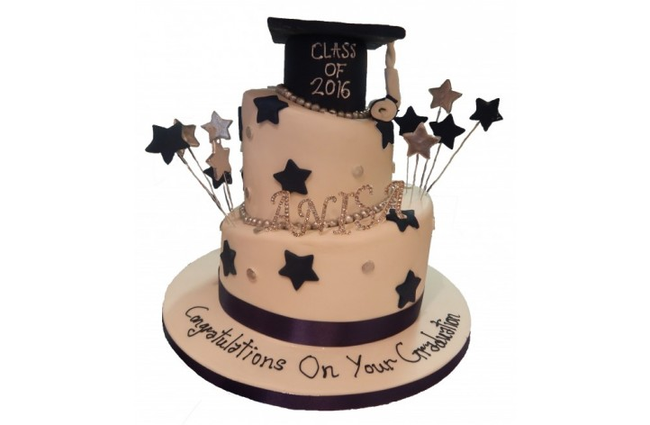 Topsy Turvy Graduation Cake with Hat & Stars