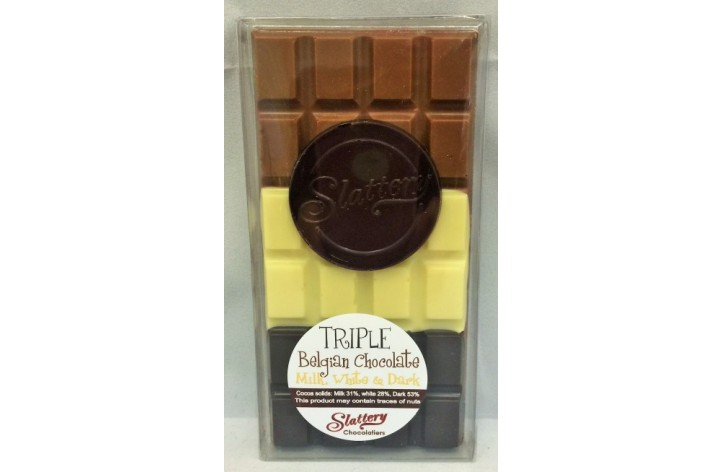 Small Triple Chocolate Bar - Milk, White & Dark