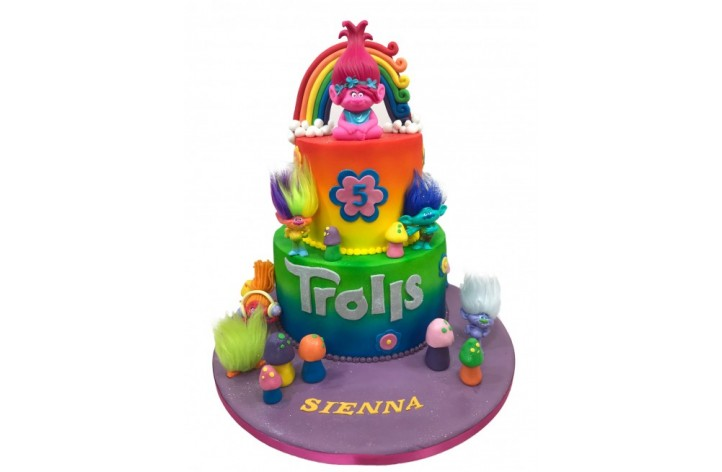 Trolls Rainbow Tiered Cake