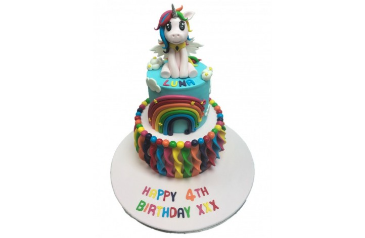 Unicorn Multi Coloured Tiered Cake