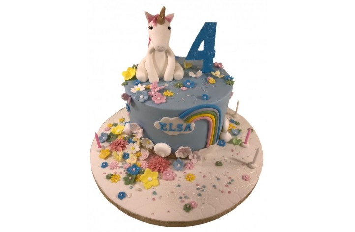 Unicorn & Flowers Cake