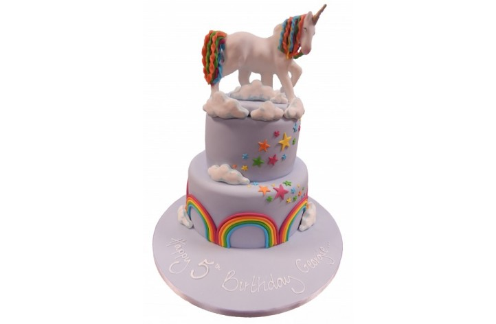 Unicorn & Rainbows Tiered Cake