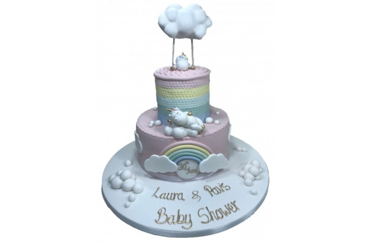 Unicorn Rainbow & Clouds Tiered Cake
