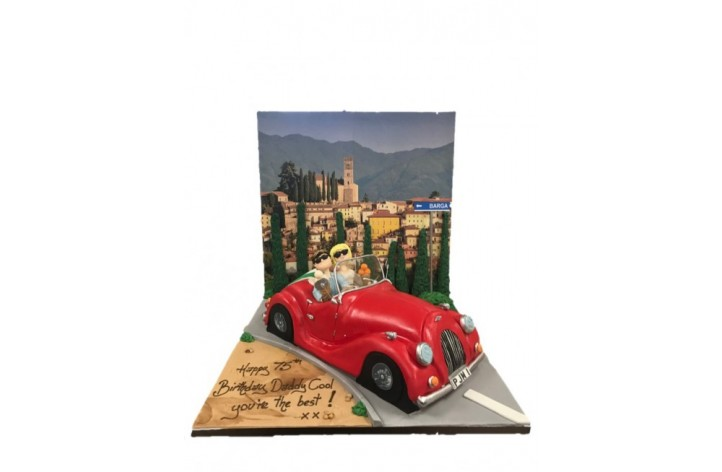 Vintage Sports Car with Backdrop & Figures