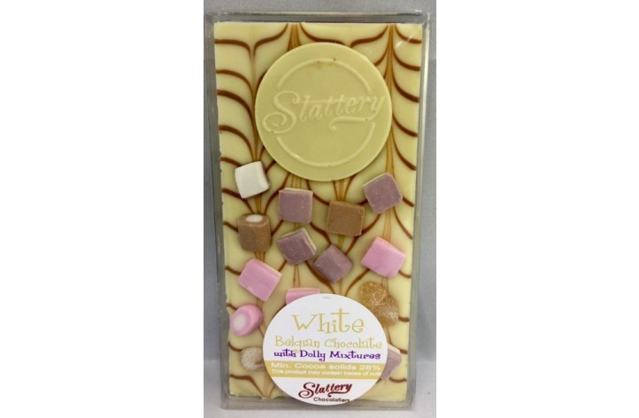 Small White Chocolate Bar with Dolly Mixtures