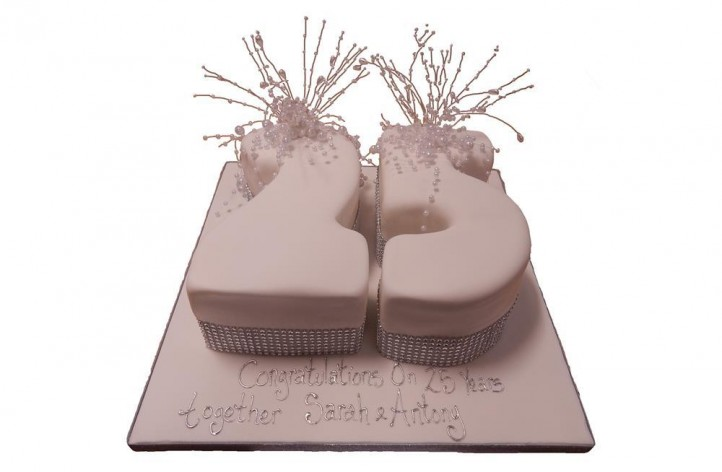 Anniversary Double Figure Cake with Pearls