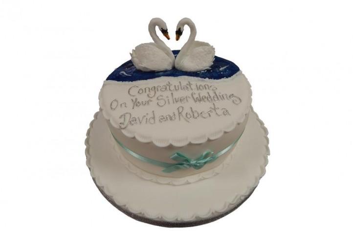 Anniversary Swans Cake